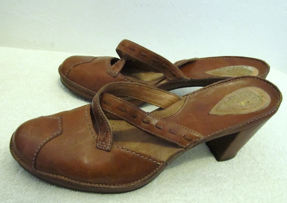 Down Strappy Artisan 5M SANDALS CLARK Brown 8 Leather 90's Clog Marked Vintage By dxfqXSd