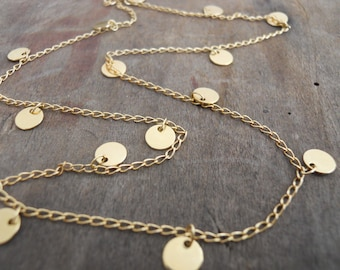 Gold Coin Necklace. Layering delicate charm necklace. Layer Gold Necklace