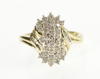 10K Diamond Burst Cluster Wavy Freeform Design Ring Size 6.75 Yellow Gold