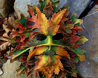 Classical Green Man mask in Leather