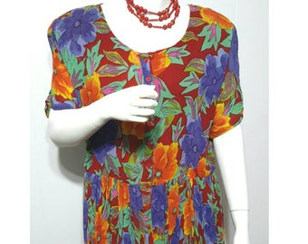 Vintage Plus Size Tropical Hawaiian Style Dress