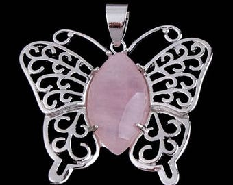 Silver plated Butterfly pendant - rose quartz