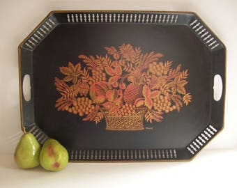 Vintage Painted Black Tray, Reticulated Edge, Large Serving Tray, Floral Design, Traditional Style