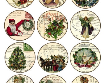 Digital Collage Sheet - christmas - Vintage Printable Tags large circle images 2.5 inch round postcard background label - Download and Print