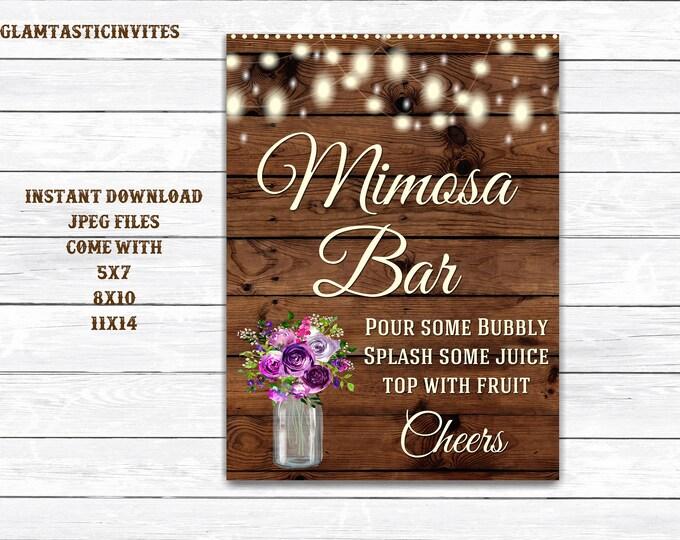 Mimosa Bar Sign, Bar Sign, Rustic Wedding Sign, Printable Sign, Shower Sign, Rustic Wedding, Mimosa Sign, Digital Sign, Rustic Mimosa Bar