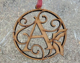 Monogram Custom Personalized Christmas Laser Cut Wood Ornament | Unique Holiday Gift