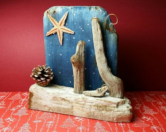 Driftwood Nativity scene. Handmade handpainted unique piece. Christmas decoration, collectable, Nativity lover gift