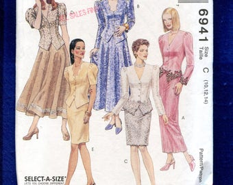 McCalls 6941 Mother of the Bride Fitted Puff Sleeve Jacket & Skirt Pattern Size 10..12..14 UNCUT