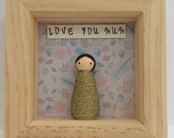 Personalised single peg person/character in a small frame