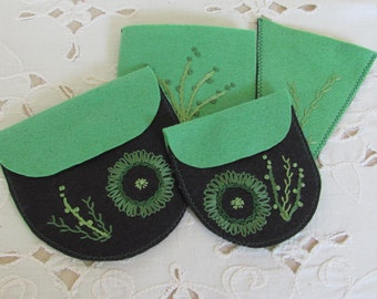 hand embroidered sewing kit, travel sewing accessories, gift for young sewer, craft and sewing room organizers