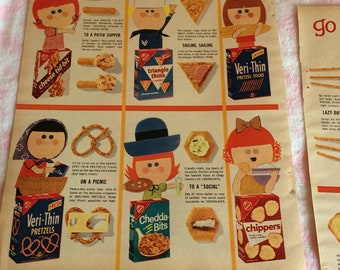 Vintage advertising 2 page ad Nabisco snacks 1960s