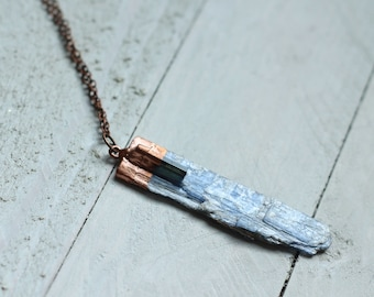 synergy No. 2/ black tourmaline and kyanite blade necklace