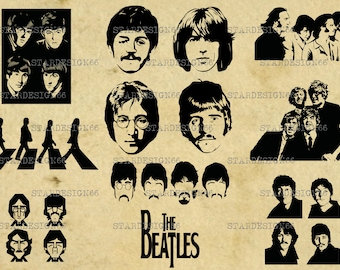 Digital SVG PNG JPG The Beatles,John Lennon, Paul McCartney, George Harrison, Ringo Starr, silhouette, vector, clipart, instant download