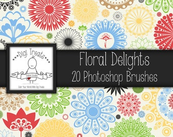 20% OFF Floral Delights Photoshop Brush Set (20 brushes) High Quality ~ Instant Download.