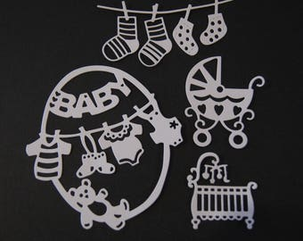 Set of 4 cutouts clothesline socks frame baby, pushchair and baby cradle