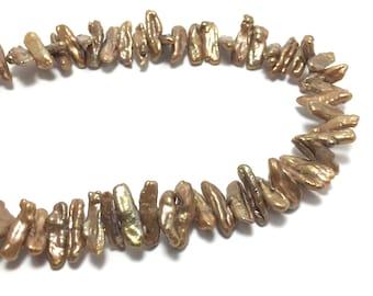 Biwa Pearls, 5.5-7mm x 16-20mm CopperColor Freshwater Pearls in 16 inches strand, BIWA017