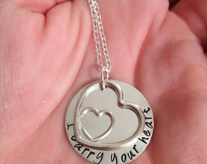 I Carry Your Heart ... customizable sterling silver necklace with Hand Hewn heart and Hand Stamped Message - You can Choose to Personalize