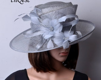 Silver grey sinamay hat fascinator with feather flower,for Kentucky derby,wedding party races church