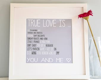 Personalised Love Print, Wall Art, Wall Art Print, Love Print, Wedding Gift, Wedding Print, Wedding Wall Art, Gift For a Couple