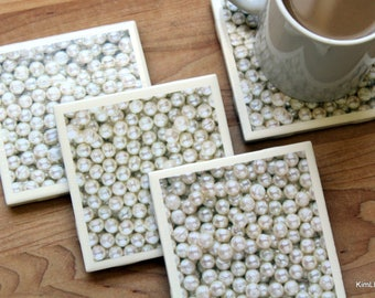 Tile Coaster - Coasters for Drinks - Coaster Tile - Pearl Coasters - Handmade Coasters - Coasters - Drink Coasters - Tile Coasters