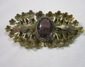 Large Victorian Sash Pin with Purple Stone and Flowers