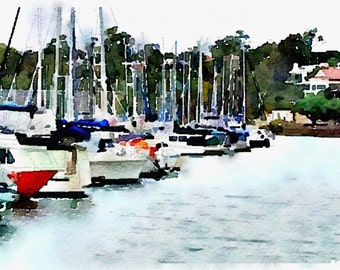 Watercolor Print - Manly Marina - Seascape