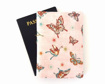 Pink butterfly passport cover, Cute passport holder for girls, Travel gifts for her