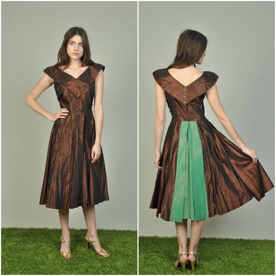 1950er Jahre Expresso und grün Taft Kleid Jahrgang 1950