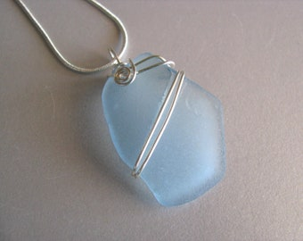 Genuine Sea Glass Jewelry - Light Blue Showstopper Beach Glass Necklace - Soft Blue Sea Glass Pendant-Sea Glass Necklace