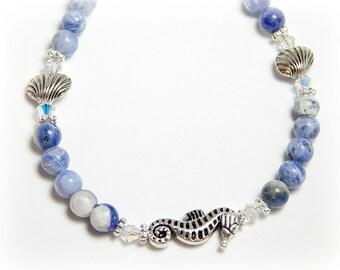 Sodalite Anklet for Women, Seashell Anklet, Seahorse Anklet, Blue Anklet,Gemstone Anklet, Beach Anklet, Seashell Jewelry, Seahorse Jewelry,