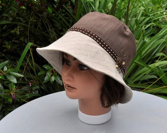 Summer beige and Brown linen and cotton hat, cotton - lined Cape size 56.5 cm