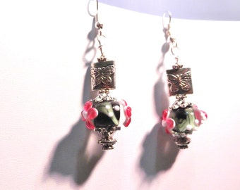 Floral Lampwork Bead Earrings