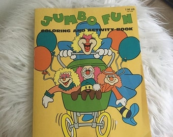 15% OFF - 1986 jumbo fun coloring and activity coloring book clowns carnival