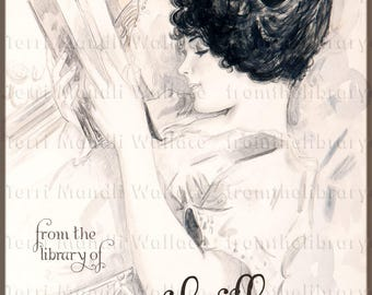 Woman Reading - ADHESIVE - Personalized Bookplate - Victorian, Sepia, Woman, book lovers, book plate