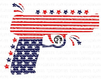 4th of july svg, gun svg, pistol file, stars and stripes svg, gun png, 4th of july dxf, red white blue svg, fourth of july svg, gun clipart