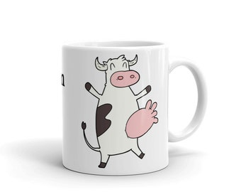 2 sided Funny cow mug, I like cream in my coffee, Cow cup. Cow lover gift