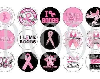 Digital Bottle Cap Image Sheet -  Breast Cancer - 1 Inch Digital Collage - Instant Download