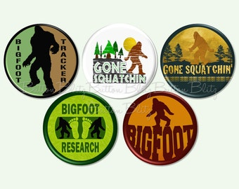 5 Bigfoot Birthday Party Pins, Bigfoot Pinbacks, Bigfoot Event Pins, Bigfoot Tracker Pins, Geocache Treasure, Bigfoot Pinback Buttons -B1589