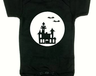 Halloween Glow in the Dark baby onesie, body suit, snap shirt Haunted House with bats