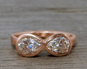 Toi et Moi Engagement Ring - Moissanite Infinity Ring in Recycled 14k Rose Gold - Pear Cut Forever Brilliant - Matte - size 7.25