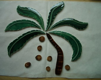 SALE PRICE - S13 - GIGANTIC 13 pc Palm Tree, Coconuts - Ceramic Mosaic Tile Set