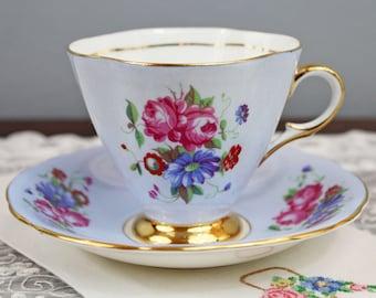 Vintage Windsor Pale Blue Pink Red Floral English Bone China Teacup and Saucer, Wedding Tea Party Favor
