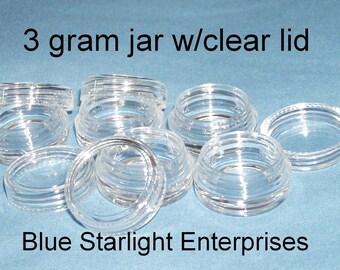 500 - 3 gram plastic jars clear lids makeup sample lip balm storage item 103N