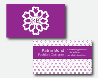 Purple business card etsy business card template calling cards custom business cards unique business card template colourmoves Image collections