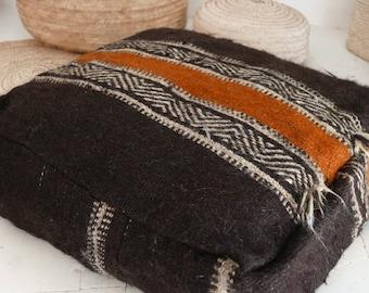 Vintage Moroccan Wool pouf  - SHADOUI Kilim