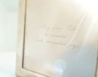 """Impressive Silver Plated Gift Box, Jewelry Box, Wedding Gift Engraved with """"May your Life be crowded with unexpected joys"""" Free Shipping"""