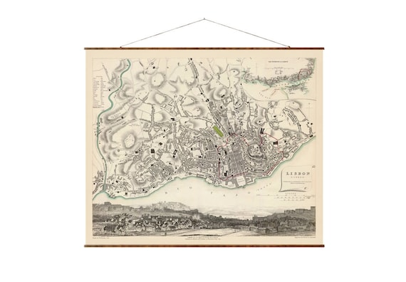 Map of Lisbon 36x 44 Canvas Map vintage map
