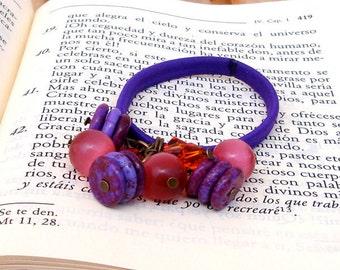Purple Beaded Hair Elastic