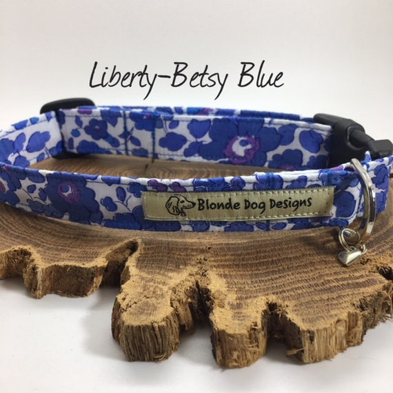 Liberty Dog Collar, Betsy Blue, Floral Dog Collar, Pretty Dog Collar, Dog Collar UK.