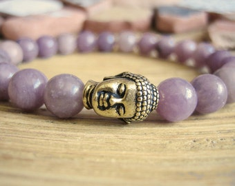 Buddha Bracelet - Lavender Jade Bracelet with Gold Buddha Bead, Purple Jade Yoga Mala Bead Bracelet for Peace, Healing and Protection